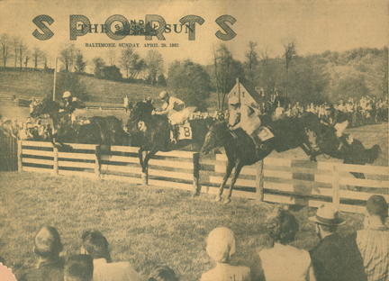 The 1962 Maryland Hunt Cup (photo printed in The Baltimore Sun): (l to r) Janon Fisher riding his own Mountain Dew, George Weymouth's Eastcor, John K. Jenney's Ba-sic and Kingdon Gould riding his own Hurdy Gurdy
