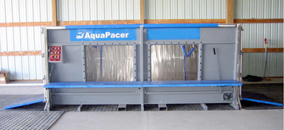 An AquaPacer is a water treadmill for horses and works the same way as the people version. It can be used for rehabilitation work or even general fitness conditioning.