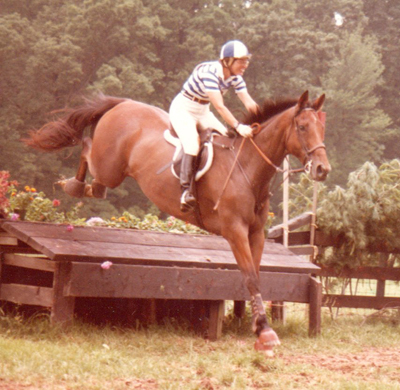 MCTA historian Ruth Frey competing Sunrock Ridge at the 1981 MCTA Horse Trials, held at Jackson's Hole in Upperco: the MCTA HTs, now in its 41st year, moved to Shawan Downs in 2003.