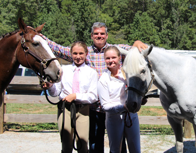 Best friends Molly Sherman and Tayler with their trainer Packy McGaughan